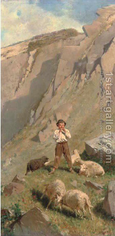 A tune in the mountains by Italian School - Reproduction Oil Painting