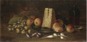 Famous paintings of Dairy & Milk: Natura Morta Con Frutta E Formaggio