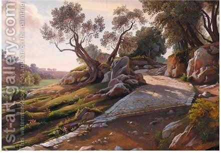 A View Of A Roman Road by Italian School - Reproduction Oil Painting
