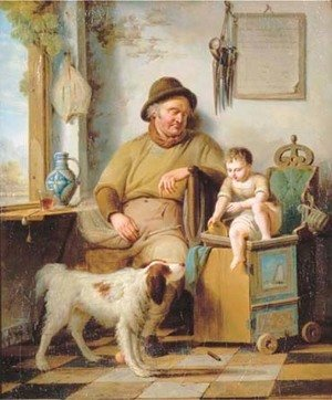 A small child, a man and a dog in an interior