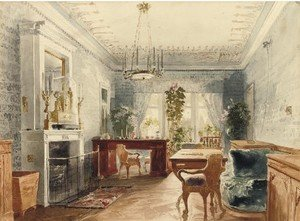 Famous paintings of Furniture: Interior with a garden view