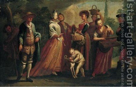 Figures Selling Various Objects To Passers-By by (after) Filippo Falciatore - Reproduction Oil Painting