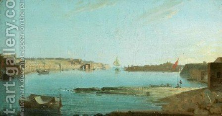 A Panoramic View Of Valetta Harbour by (after) Giorgio Pullicino - Reproduction Oil Painting
