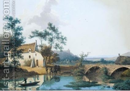 River Landscape WithJourneymen Watering Their Donkeys by (after) Hendrik Johannes Knip - Reproduction Oil Painting