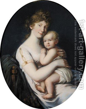 Portrait Of Luise Queen Of Prussia  (1776-1810) With Her Eldest Son Crown Prince Friedrich Wilhelm (1795-1861) On Her Lap by (after) Johann Heinrich Schroder - Reproduction Oil Painting