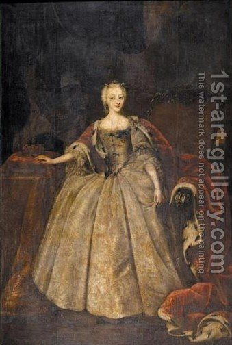 Portrait Von Herzogin Luise Von Sachsen-Hildburghausen, Tochter Von Konig Christian IV. (1726-1756) by (after) Johann Salomon Wahl - Reproduction Oil Painting
