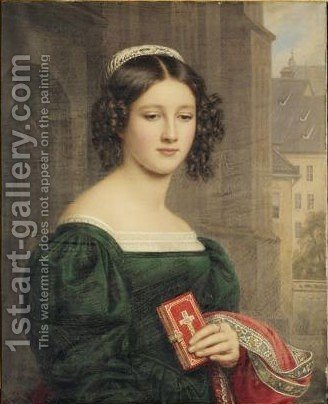 Portrait Of Anna Hillmayer by (after) Joseph Karl Stieler - Reproduction Oil Painting