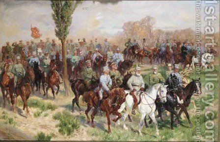 Military Scene With Austrian Officers by (after) Ludwig Koch - Reproduction Oil Painting