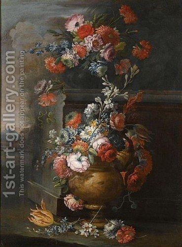Still Life With Two Vases Of Various Flowers In A Landscape by (after) Michele Antonio Rapous - Reproduction Oil Painting
