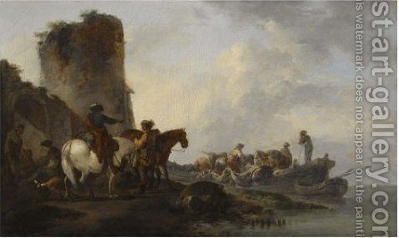 A Coastal Landcape With Figures Loading Boats Beside A Ruined Towers by (after) Philip James De Loutherbourg - Reproduction Oil Painting