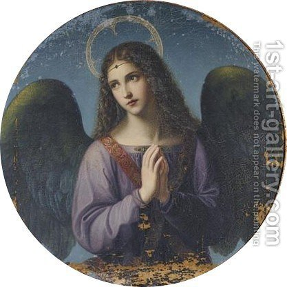 An Angel At Prayer by H. Schulz - Reproduction Oil Painting