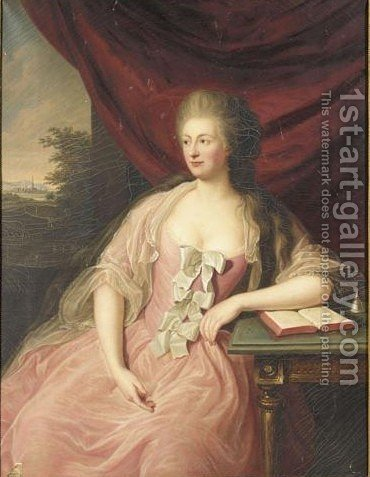 Portrait Of A Lady, Said To Be Amalie Sophie Marianne Von Wallmoden, Countess Of Yarmouth (1704-1765) by H. Schulz - Reproduction Oil Painting
