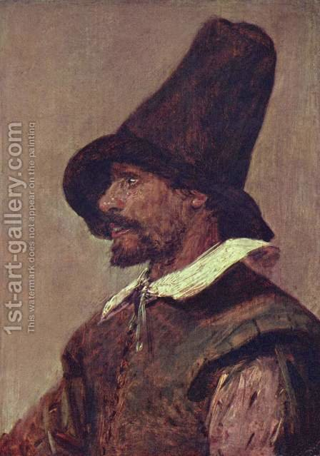 Head of a man with a pointed hat by Adriaen Brouwer - Reproduction Oil Painting