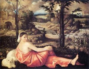Famous paintings of Dogs: Reclining Woman in a Landscape 1520-24