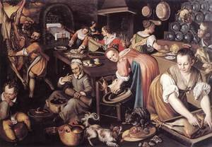 Famous paintings of Dogs: Kitchen 1580s