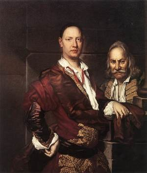 Vittore Ghislandi reproductions - Portrait Of Giovanni Secco Suardo And His Servant