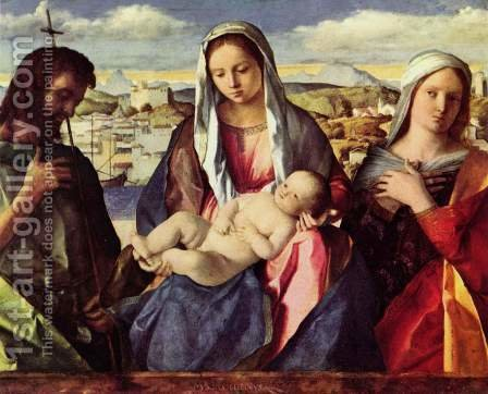 Madonna with John the Baptist and a Saint by Giovanni Bellini - Reproduction Oil Painting