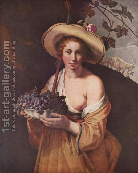 Shepherdess with Grapes by Abraham Bloemaert - Reproduction Oil Painting
