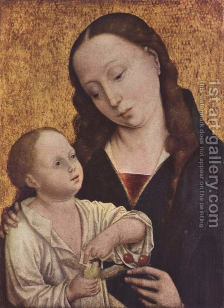 Portrait of a Madonna with the Cherries by (after) Dieric The Elder Bouts - Reproduction Oil Painting