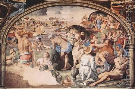 Frescoes in the Chapel of Eleonora da Toledo in the Palazzo Vecchio in Florence, right side wall passage of the Israelites through the Red Sea by Agnolo Bronzino - Reproduction Oil Painting
