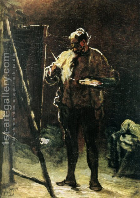The painter at his easel by Honoré Daumier - Reproduction Oil Painting