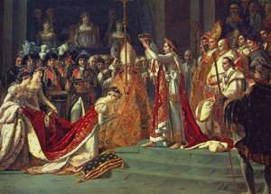 Reproduction oil paintings - Jacques Louis David - Anointing of Napoleon I and Coronation of the Empress Josephine. Napoleon stands behind Pope Pius VII