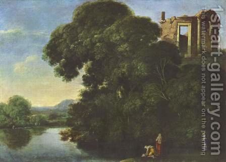 Landscape with Vesta temple in Tivoli by Adam Elsheimer - Reproduction Oil Painting