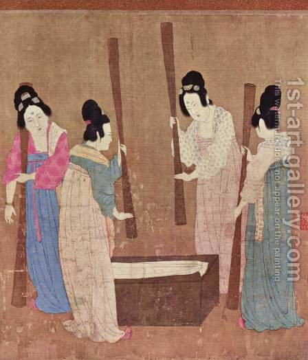 Women preparing silk by Huizong Emperor - Reproduction Oil Painting