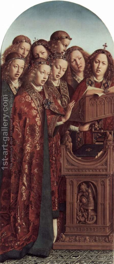 Ghent altar altar of the Mystic Lamb, left wing, upper, inner scene Angel playing instruments by Hubert van Eyck - Reproduction Oil Painting