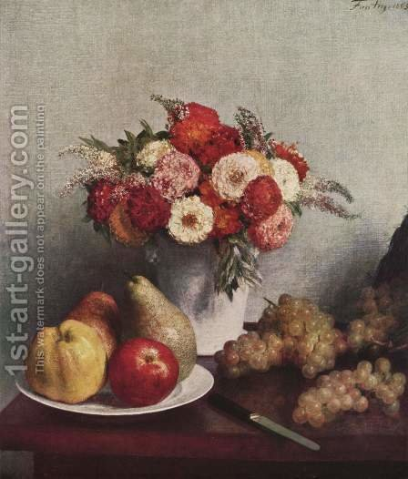 Still life with flowers and fruits by Ignace Henri Jean Fantin-Latour - Reproduction Oil Painting