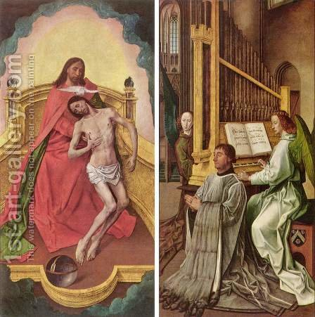 Sir Edward Boncle (Founder, portrait on the right panel) in adoration of the Trinity (left panel) by Hugo Van Der Goes - Reproduction Oil Painting