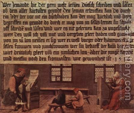 Summary of a schoolmaster, Scene lessons for children by Hans, the Younger Holbein - Reproduction Oil Painting