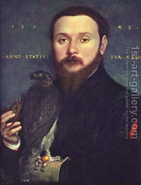 Portrait of a gentleman with a falcon by Hans, the Younger Holbein - Reproduction Oil Painting