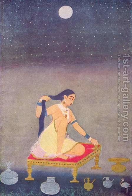 The shepherd girl Radha by Indian School - Reproduction Oil Painting