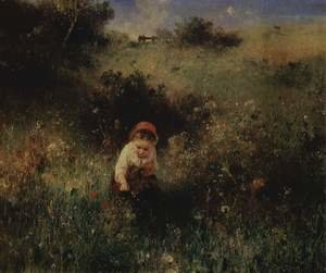 Reproduction oil paintings - Ludwig Knaus - A girl on the field