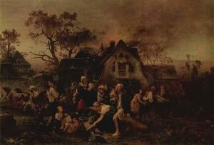 Reproduction oil paintings - Ludwig Knaus - Fire in the village (the fire)