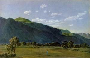 Reproduction oil paintings - Wilhelm Von Kobell - Look to the valley of Kreuth