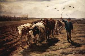Famous paintings of Landscapes: Plowing ox