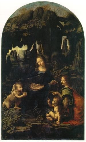 Reproduction oil paintings - Leonardo Da Vinci - Madonna of the Rocks, Scene Mary with baby Jesus, John the Baptist as a child and an angel