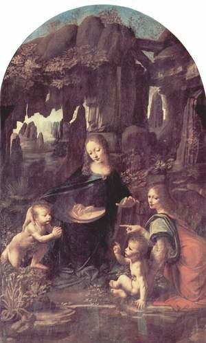 Reproduction oil paintings - Leonardo Da Vinci - Madonna of the Rocks, Scene Mary with baby Jesus, John the Baptist as a child and an angel 2