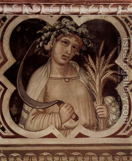 Allegory of Summer, medallion, good government assigned by Ambrogio Lorenzetti - Reproduction Oil Painting