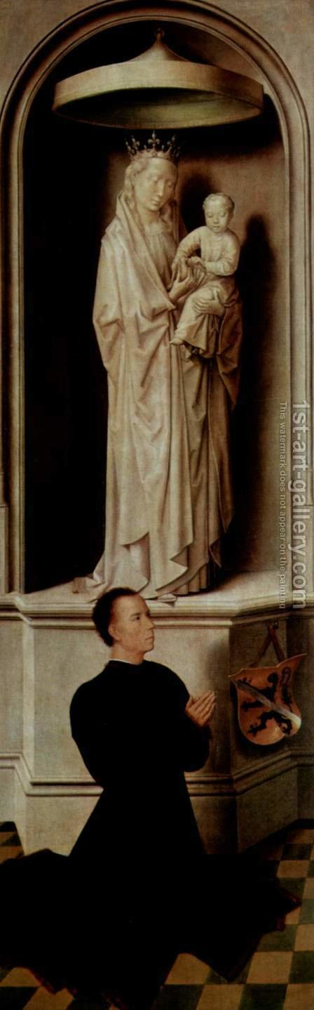 The Last Judgement, Triptych, left wing, outside, scene Praying founder Angelo Tani and Mary with the child by Hans Memling - Reproduction Oil Painting