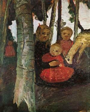 Famous paintings of Landscapes: Three children with goat in the birch forest
