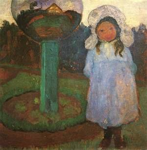 Famous paintings of Landscapes: Girl in the garden next to a glass ball (Elsbeth)