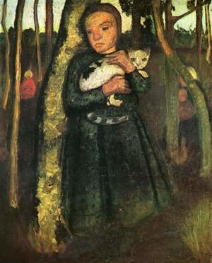 Famous paintings of Landscapes: Girl with cat in the birch forest