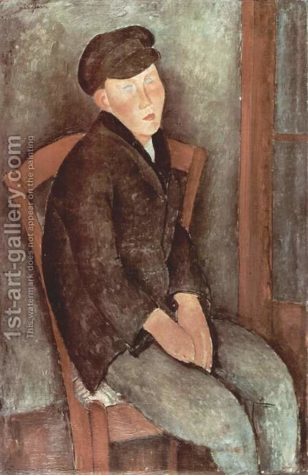 Sitting boy with cup by Amedeo Modigliani - Reproduction Oil Painting