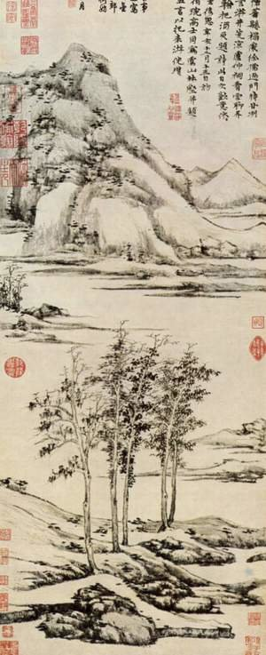 Famous paintings of Landscapes: Trees in a river valley in Yu-shan