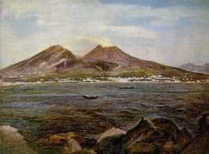 Famous paintings of Landscapes: Overlooking the Gulf of Naples