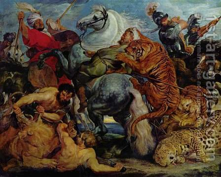 Rubens: Tiger and lion hunting - reproduction oil painting