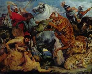 Reproduction oil paintings - Rubens - Tiger and lion hunting